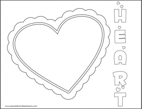 Spaceships and Laser Beams Valentine's Day Coloring Page