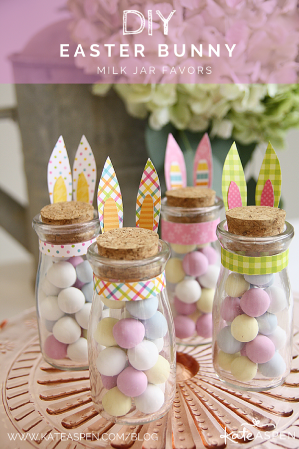 DIY Easter Bunny Milk Jar Favor by Kate Aspen on Everyday Party Magazine