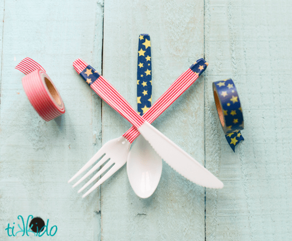 Simple 4th of July DIY's on Everyday Party Magazine Tikkido Easy Decorated Silverware DIY
