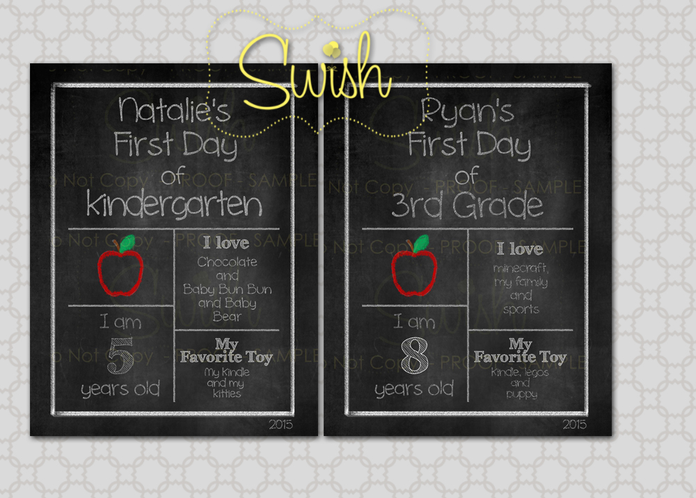 Back to School Round Up SwishPrintables Custom 1st Day of School Printables