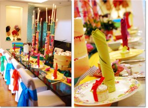 """Bring Alice's Wonderland to life for your little lady's birthday celebration! The memorable scenes from the well-loved Lewis Carrol tale are chock full of fun details and zany characters that would be a blast to work into this party theme. Rather than rely on online or store-bought party supplies, we've put together a party set-up that shows how you can capture the look and feel of Alice's world using materials you can easily source or probably already have. (See our full post for suggestions you can make, recycle or substitute.) Think over-the-top colors, wacky DIY party decorations, and a tablescape straight out of the Mad Hatter's crazy tea party! The whole idea of a Wonderland-themed celebration is one of playfulness, whimsy, and being not-quite-what-you'd-expect. """"Curiouser and curiouser,"""" as Alice would say! So let your creativity kick in. Assemble a party setting that's just bursting with fun details like these shown."""