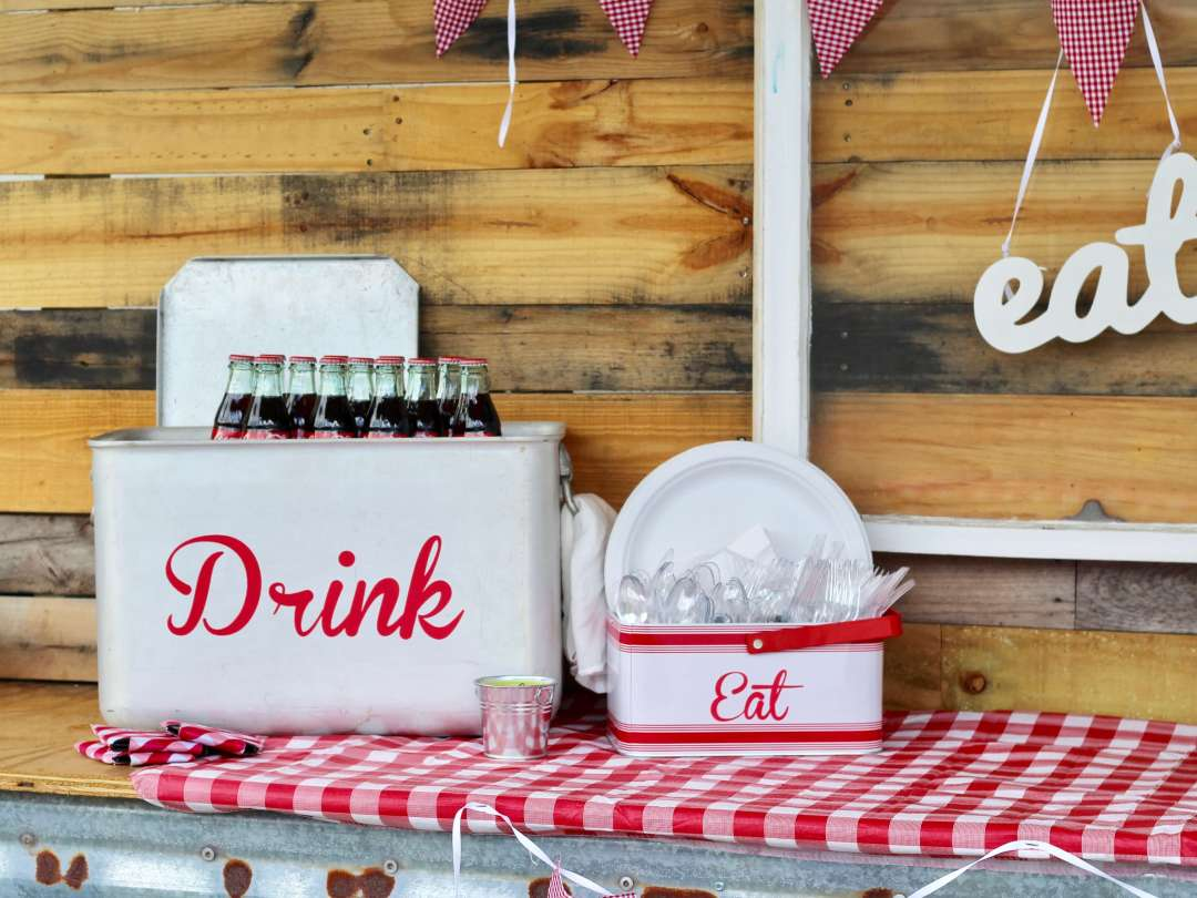 Back Yard BBQ, Red Gingham, Vintage, S'mores, DIY, Backyard Party