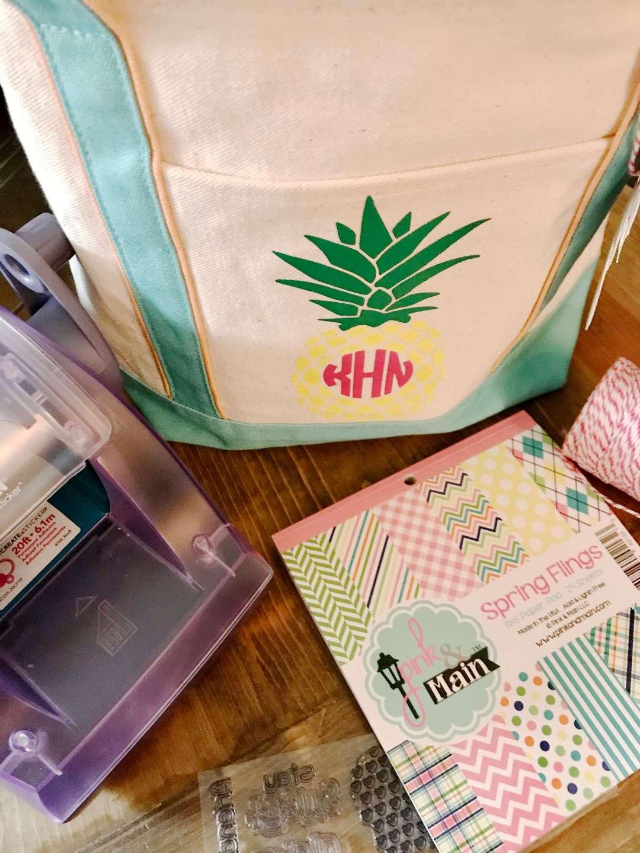 Pineapple, Summer, Gift Bag, Monogram, Stamp, Pink and Main, Xyron