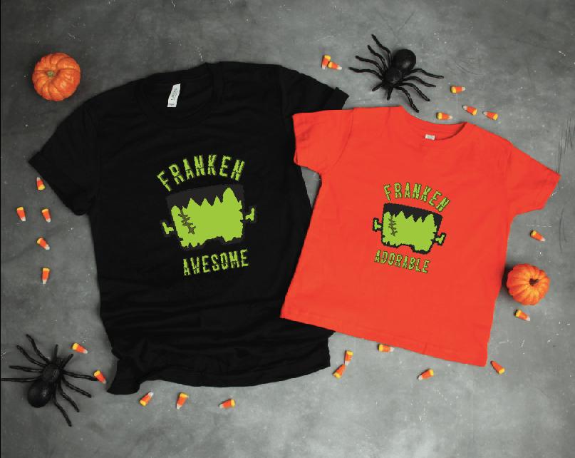 Make this Franken Awesome Halloween Shirt! Get the cut file on the blog #Halloween #Frankenstein #DIYShirt #CricutMade