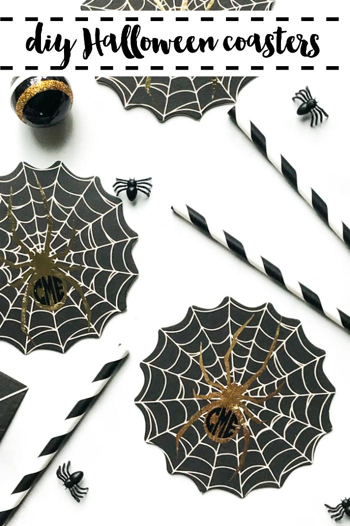 DIY Halloween Coasters Monogrammed Spider Coasters Spiders Paper Straws