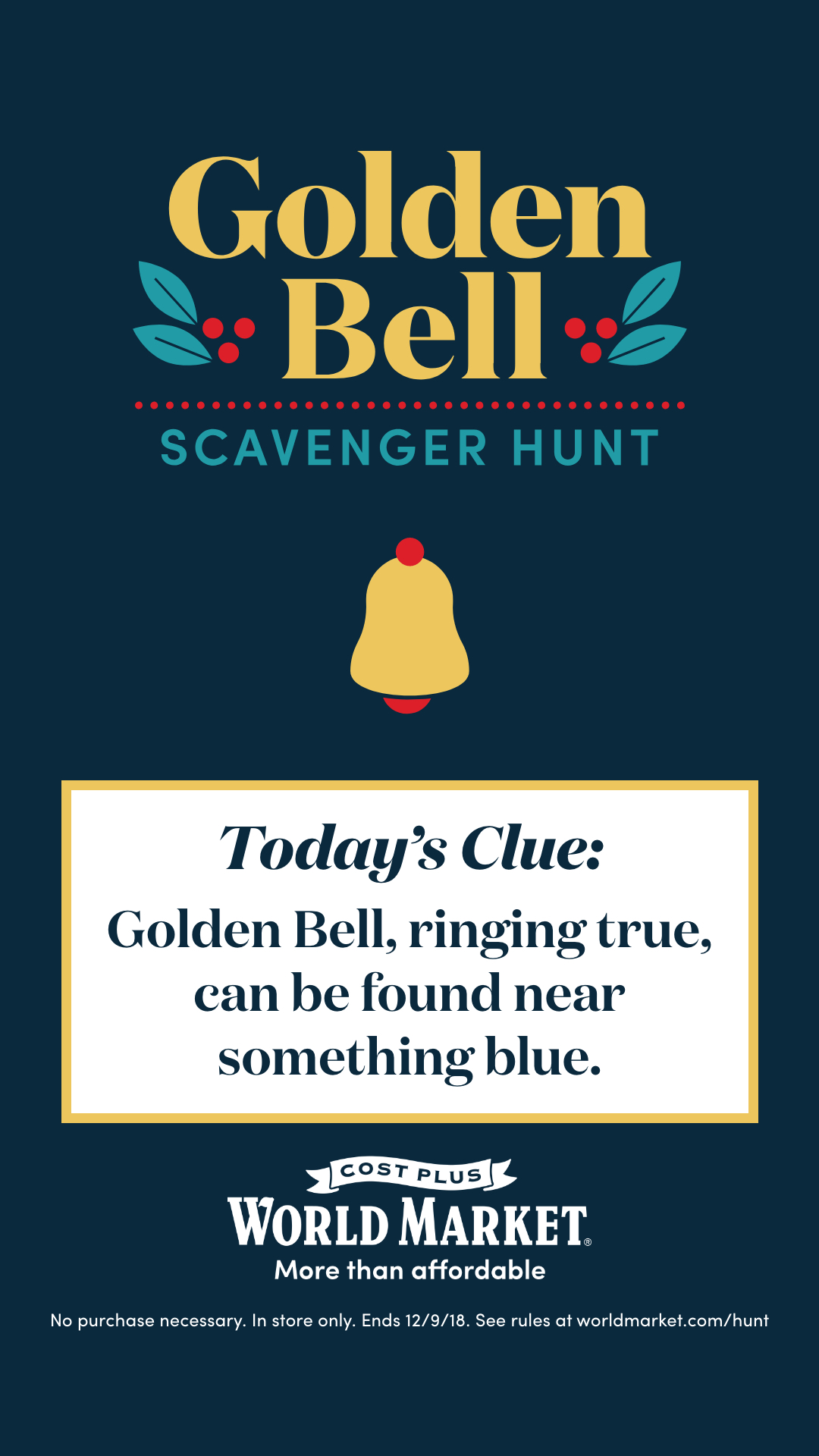 Cost Plus World Market Golden Bell Contest Clue Number 1