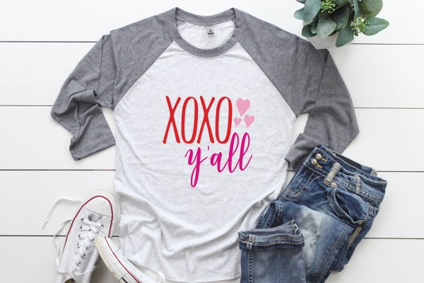 XOXO Y'all Valentine's Day Raglan Shirt