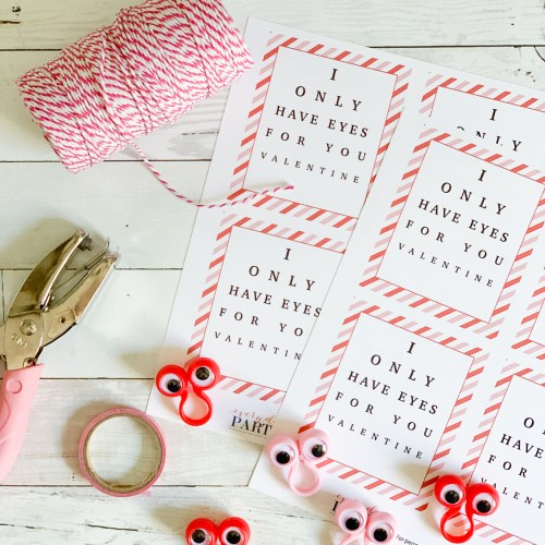 Valentine's Day Cards Googly Eyes Hole Punch Washi Tape Twine