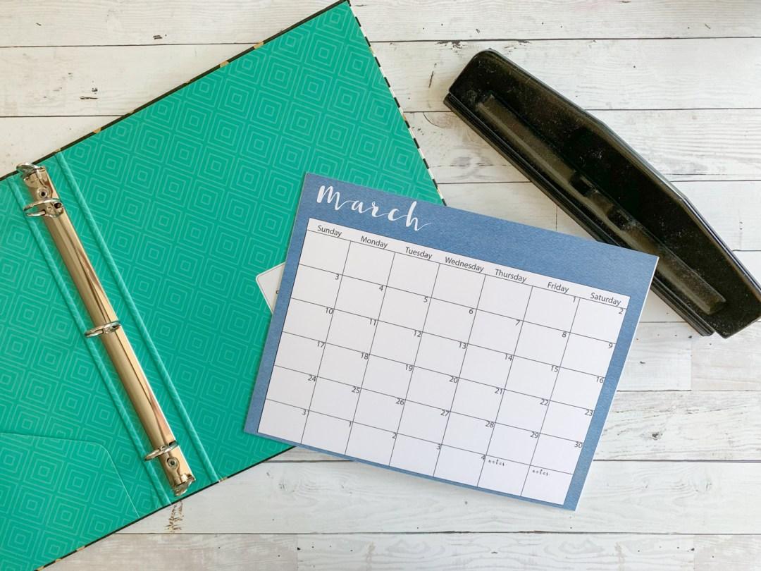 Calendar Notebook Hole Punch
