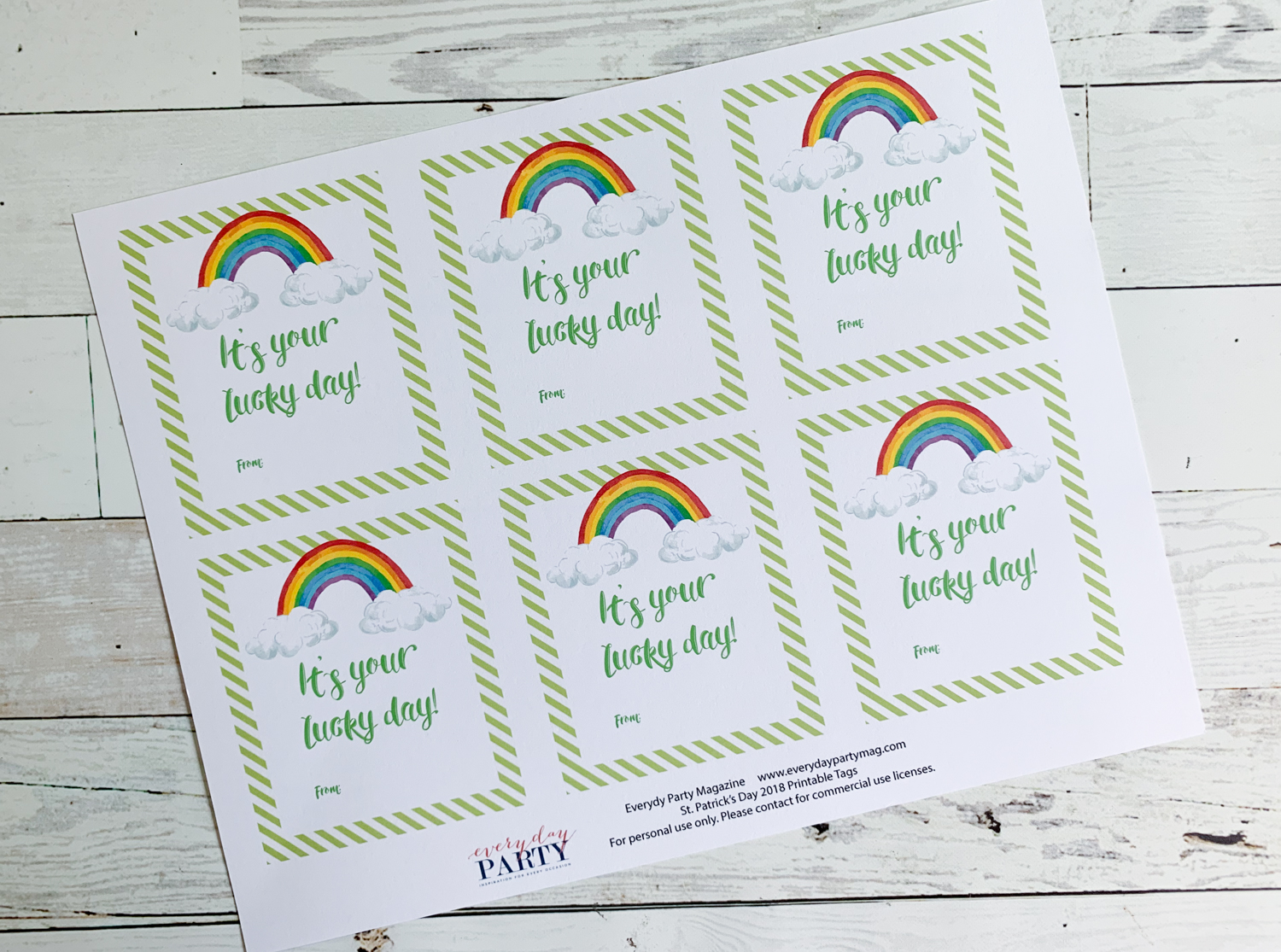 Rainbow St. Patrick's Day Tags