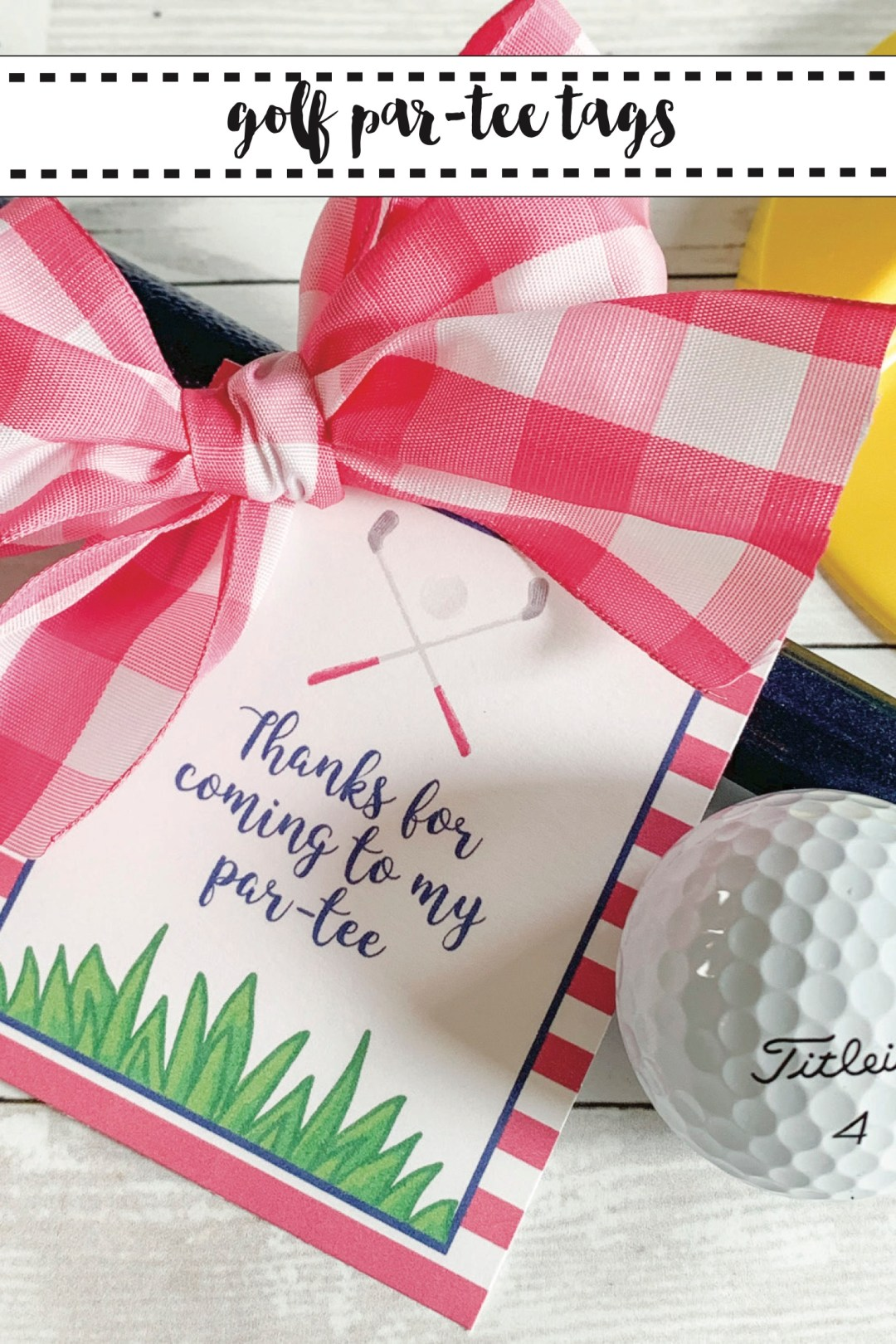 Golf Party Tags Gingham Bow Golf Ball
