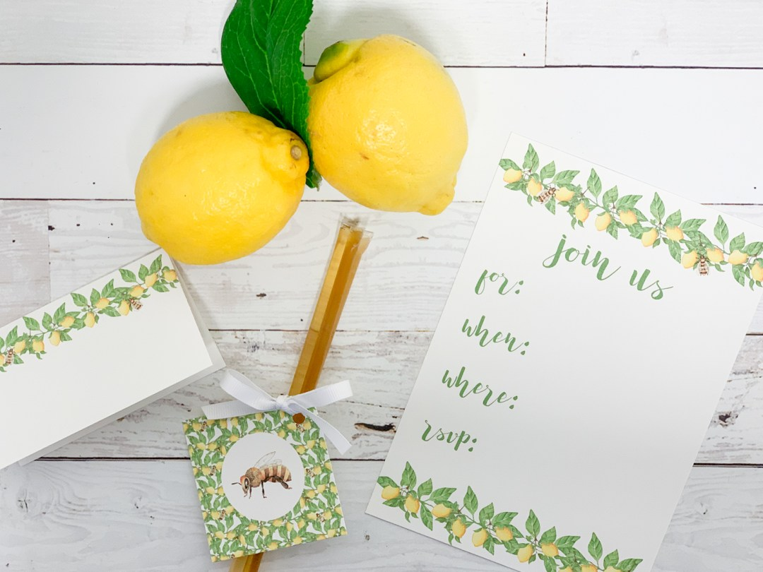 Lemons Honey Party Favor Spring Party Invitation