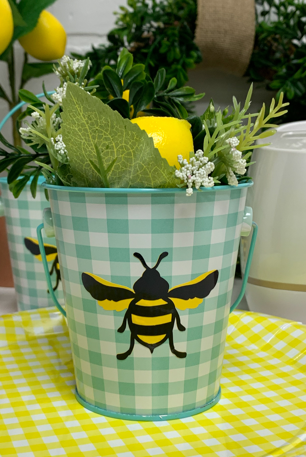 Gingham Bucket Bee Lemons