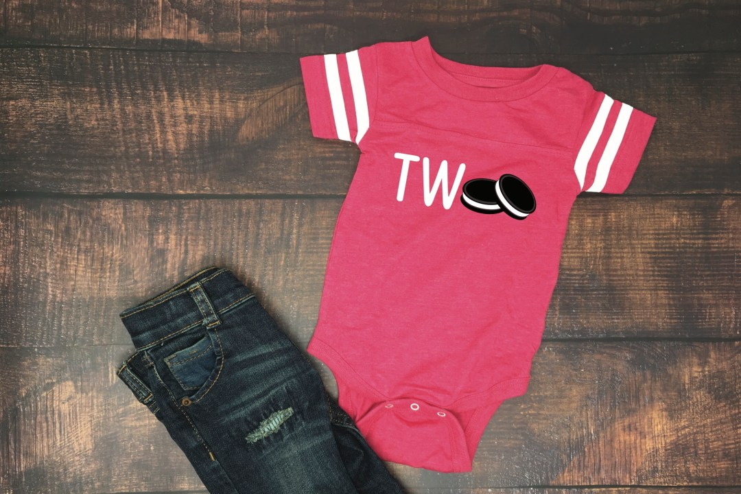 Red Toddler Two Cookie Onesie Blue Jeans