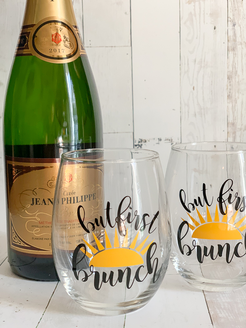 But First Brunch Wine Glasses Sparkling Champagne
