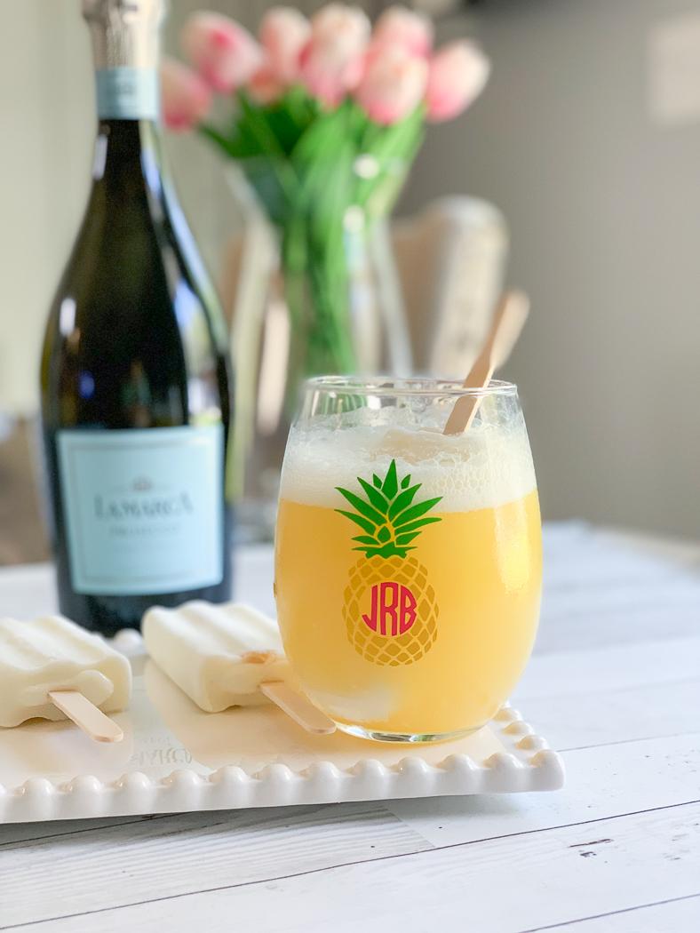 Pineapple Monogram Wine Glass Prosecco Popsicles
