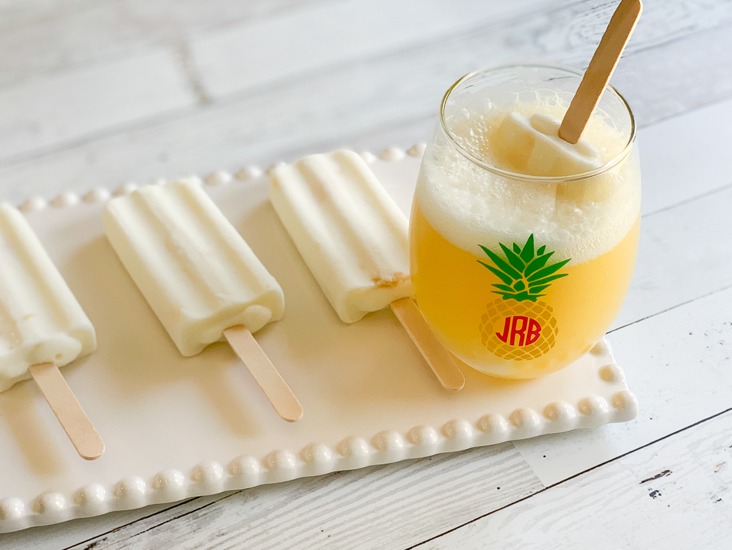 Pineapple Monogram Wine Glass Mimosa Popsicles