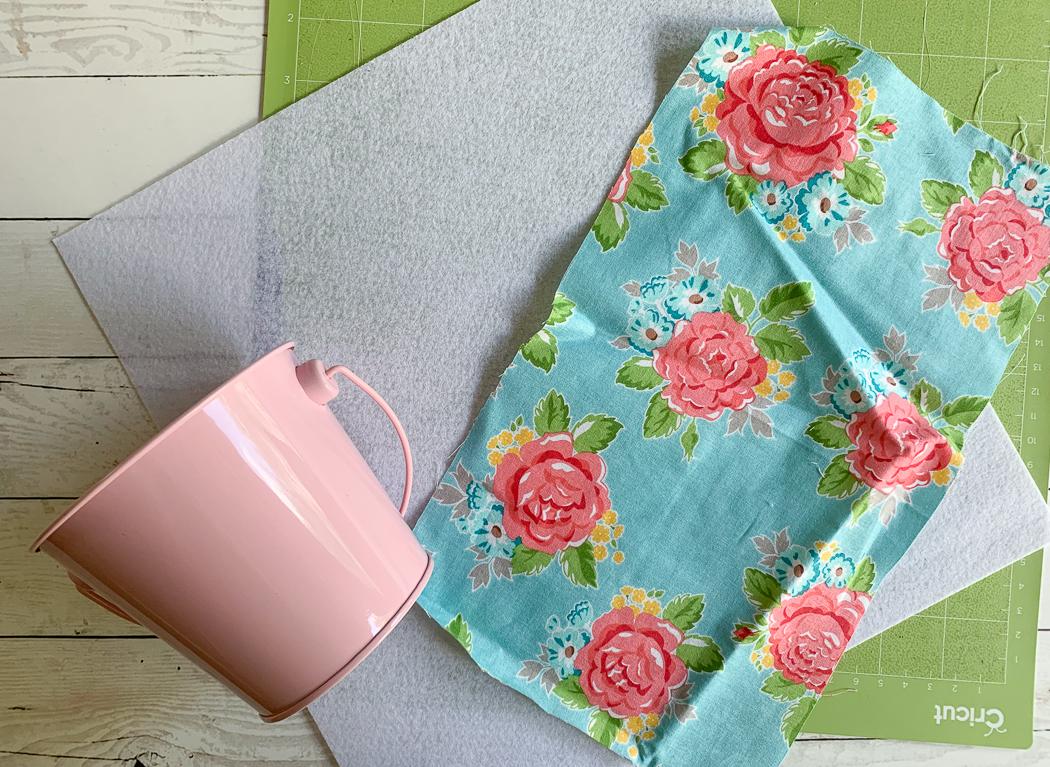 Pink Bucket Cricut Cutting Mat Floral Fabric White Felt