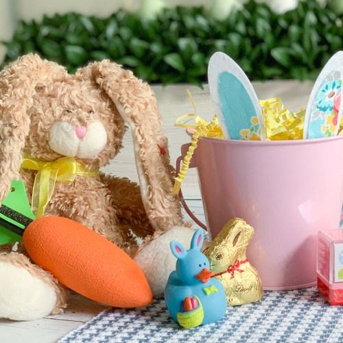 Easter Treats Brown Bunny Pink Easter Bucket