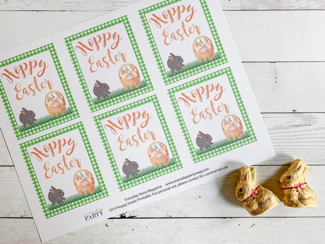Hoppy Easter Printable Tags Lindt Chocolate Bunnies
