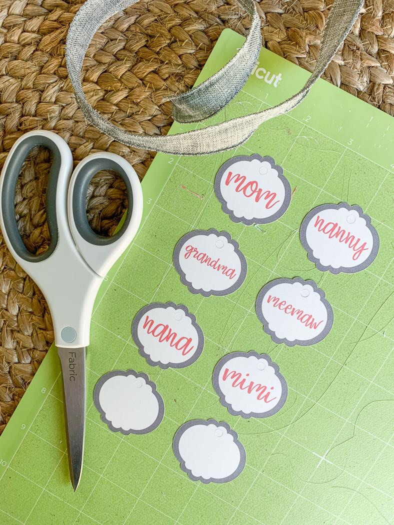 Cricut Cutting Mat Gift Tags Scissors Ribbon