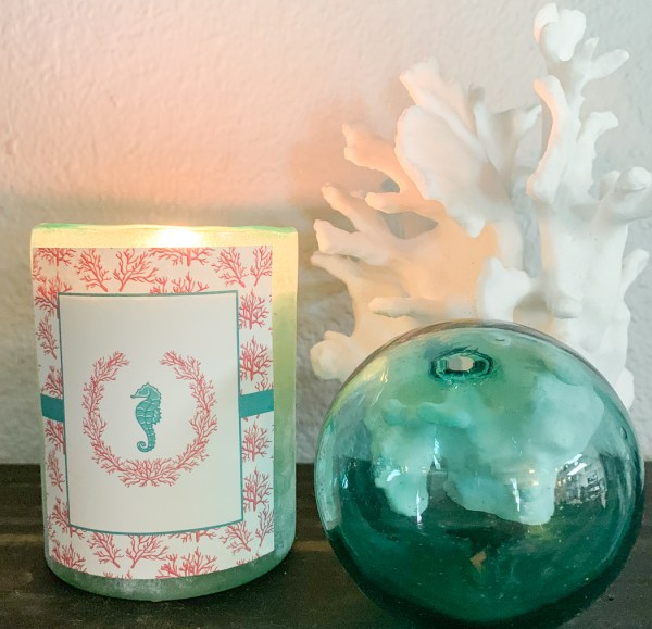Seahorse and Coral Candle Sea Glass Coral