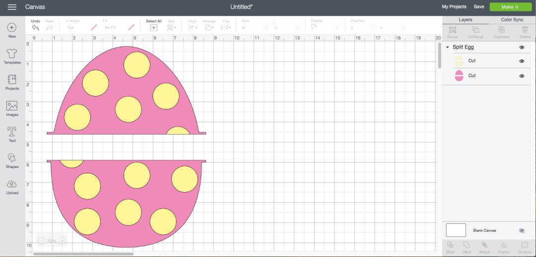 Cricut Design Space Screen Shot Easter egg Monogram