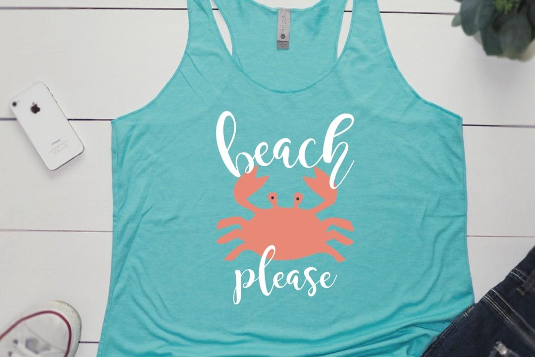 Beach Please Crab Tank Top