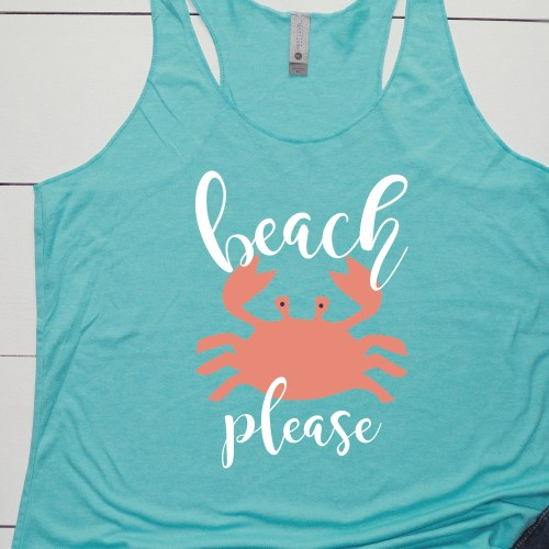 Beach Please Crab Tank Top