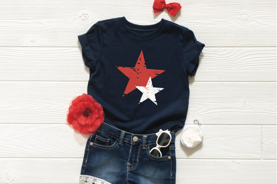 Red White Blue Star Shirt Flower Sunglasses