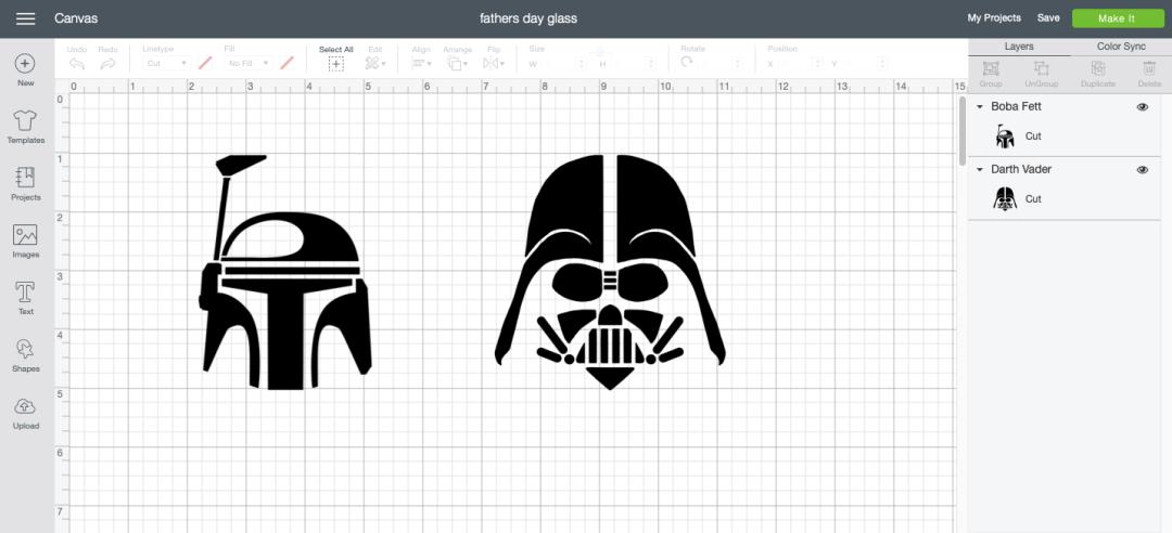 Star Wars Cricut Design Space Screen Shot