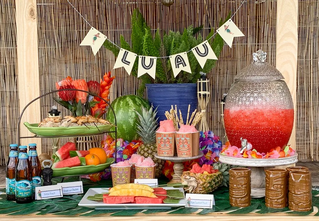 Luau Party Food Table