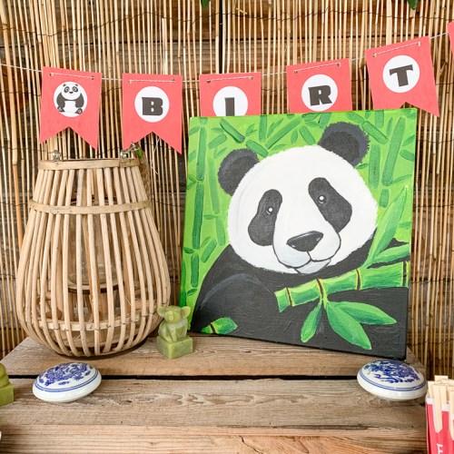 Panda Canvas Bamboo Lantern