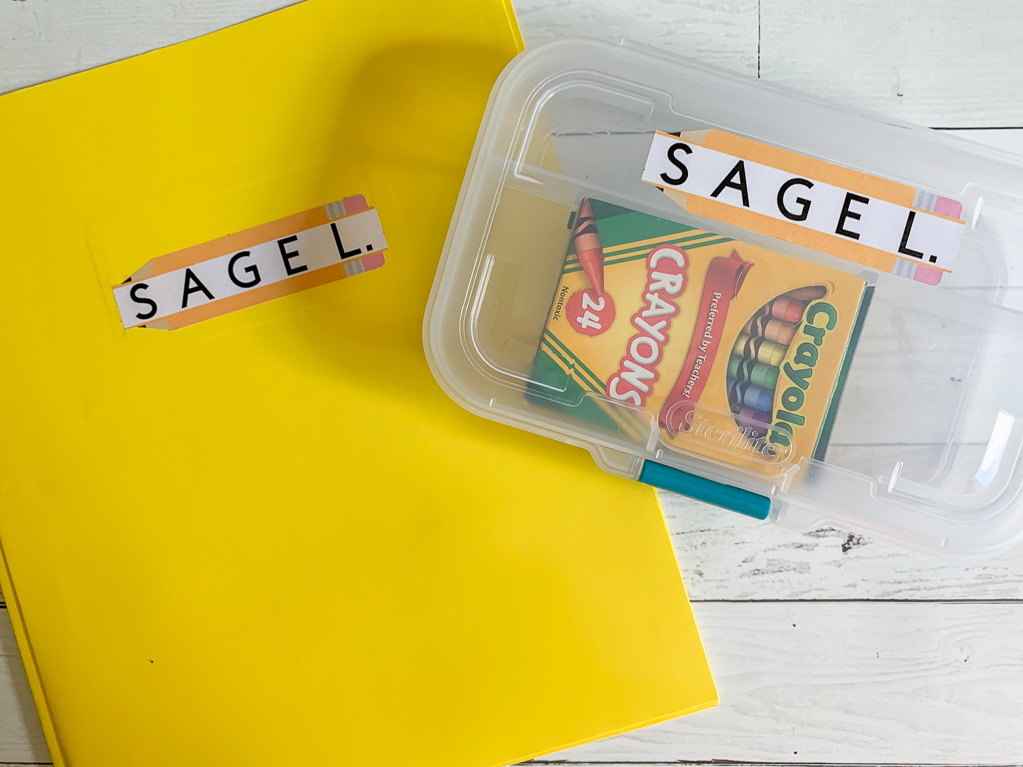 Labeled Yellow Folder Labeled Crayon Box