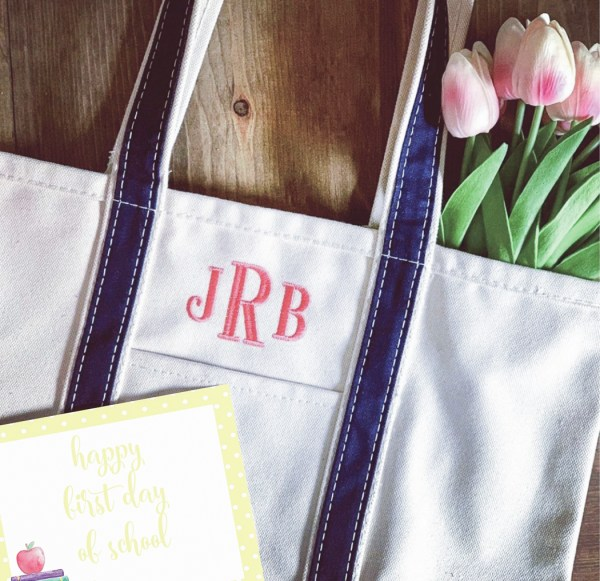 Monogrammed Tote Bag Back to School Printable