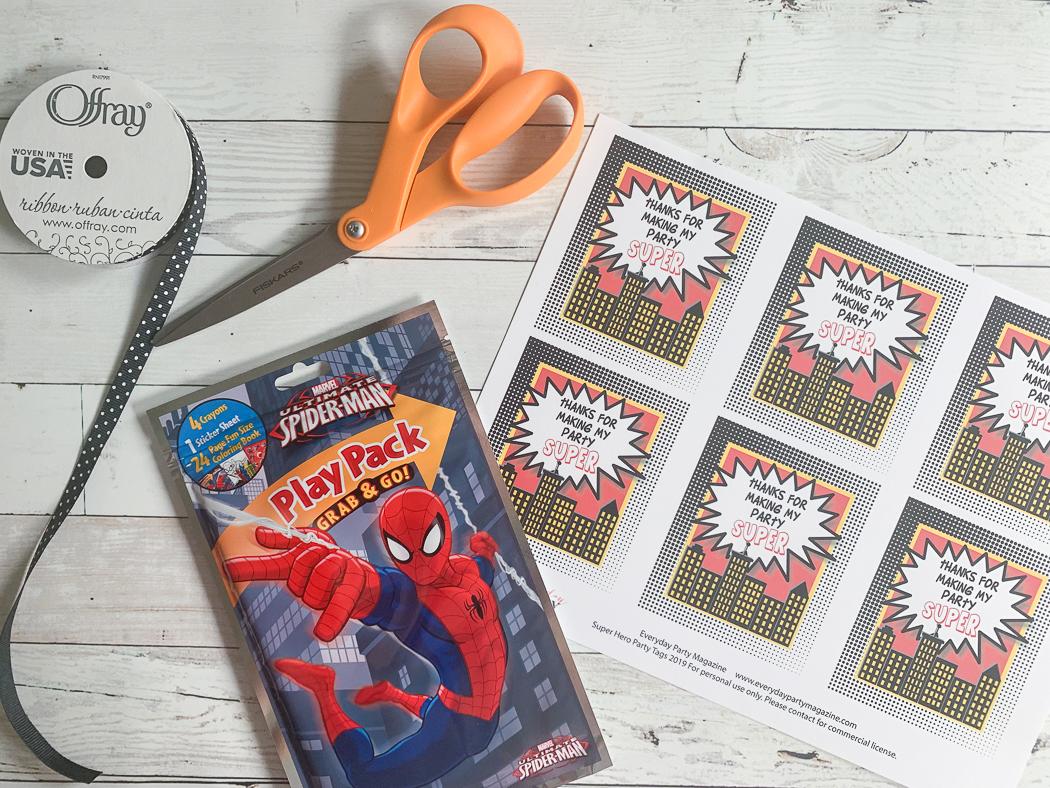Super Hero Coloring Book Printable Tags Scissors