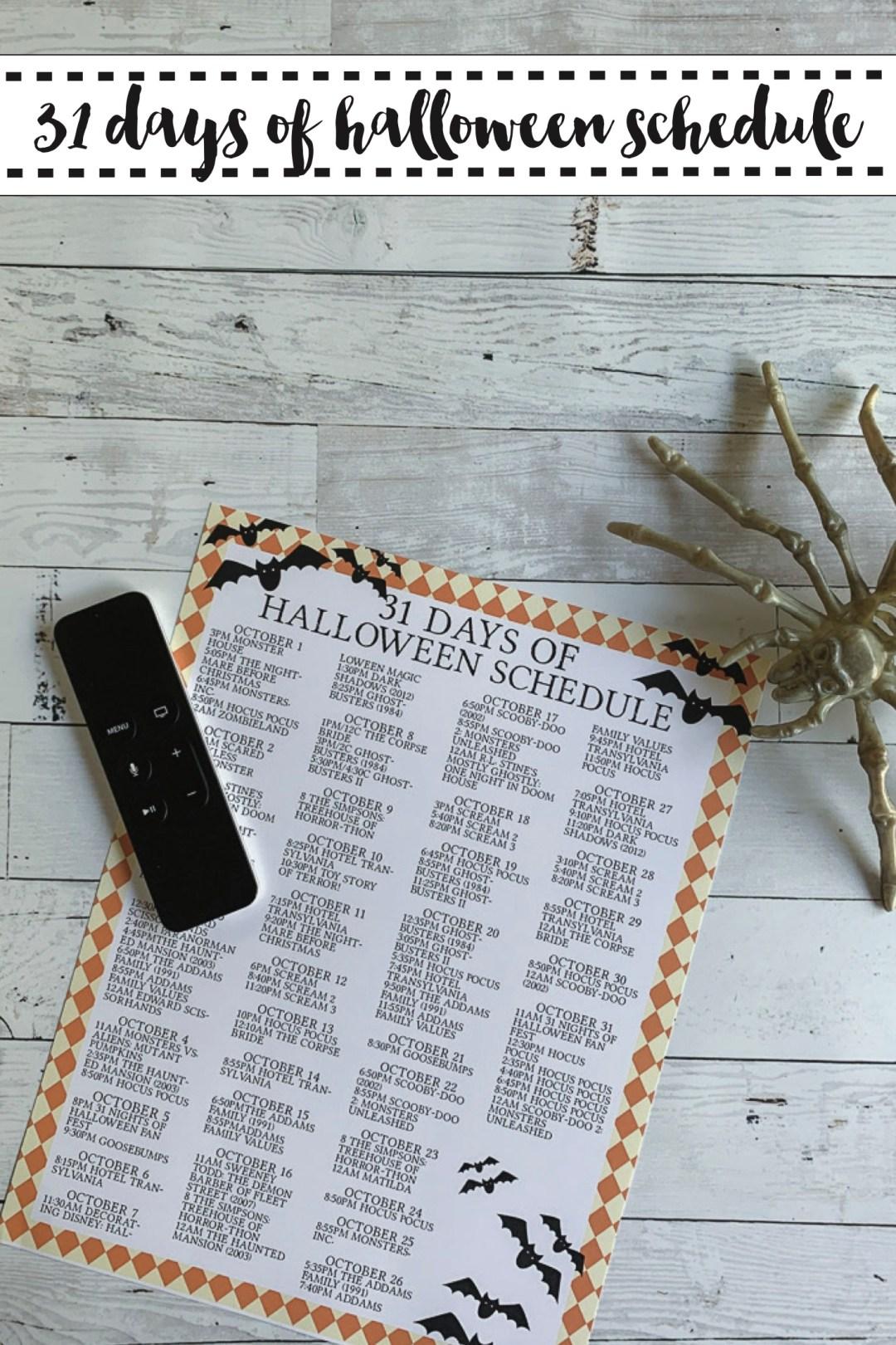 Free Form Halloween Movie Schedule