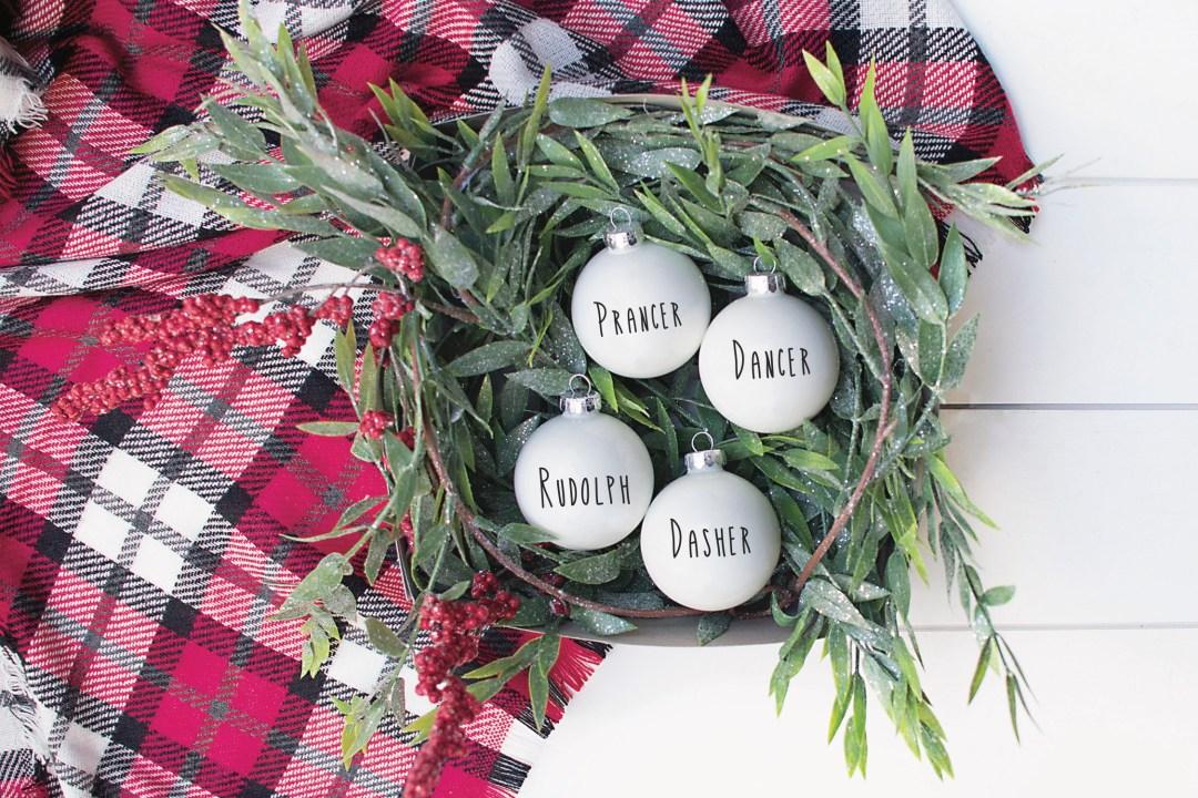 Plaid Throw White Ornaments