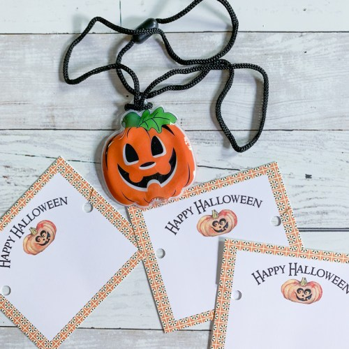 Halloween Tags Jack O Lantern Necklace