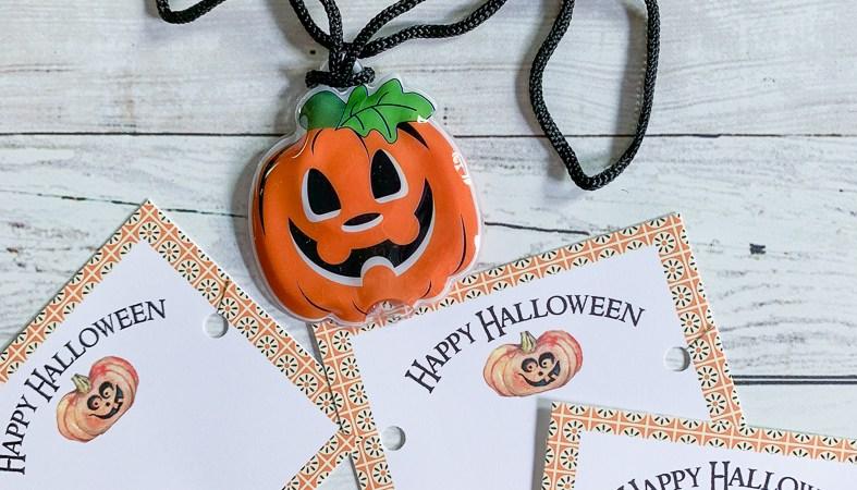 Halloween Tags Jack O Lantern Necklace
