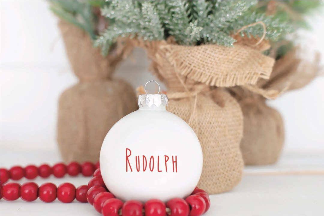 White Rudolph Ornament
