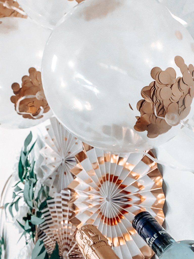 Rose Gold Rosettes and Balloons