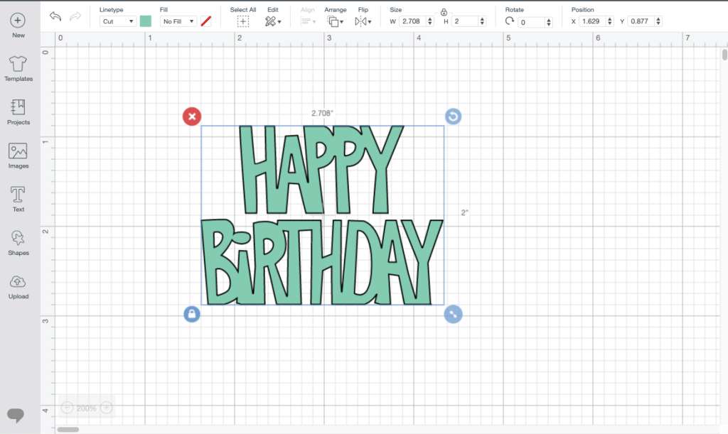 Cricut Design Space Screen Shot Happy Birthday