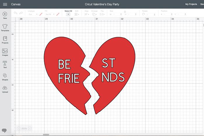 Cricut Design Space BFF Heart