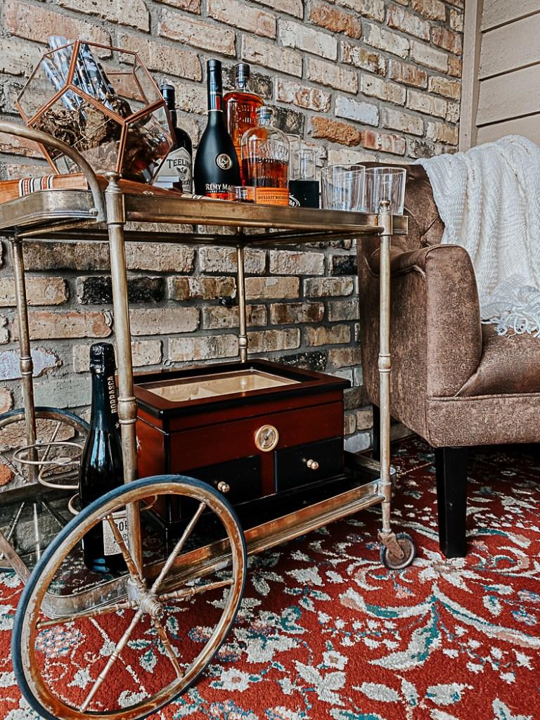 Bar Cart Humidor Leather Chair