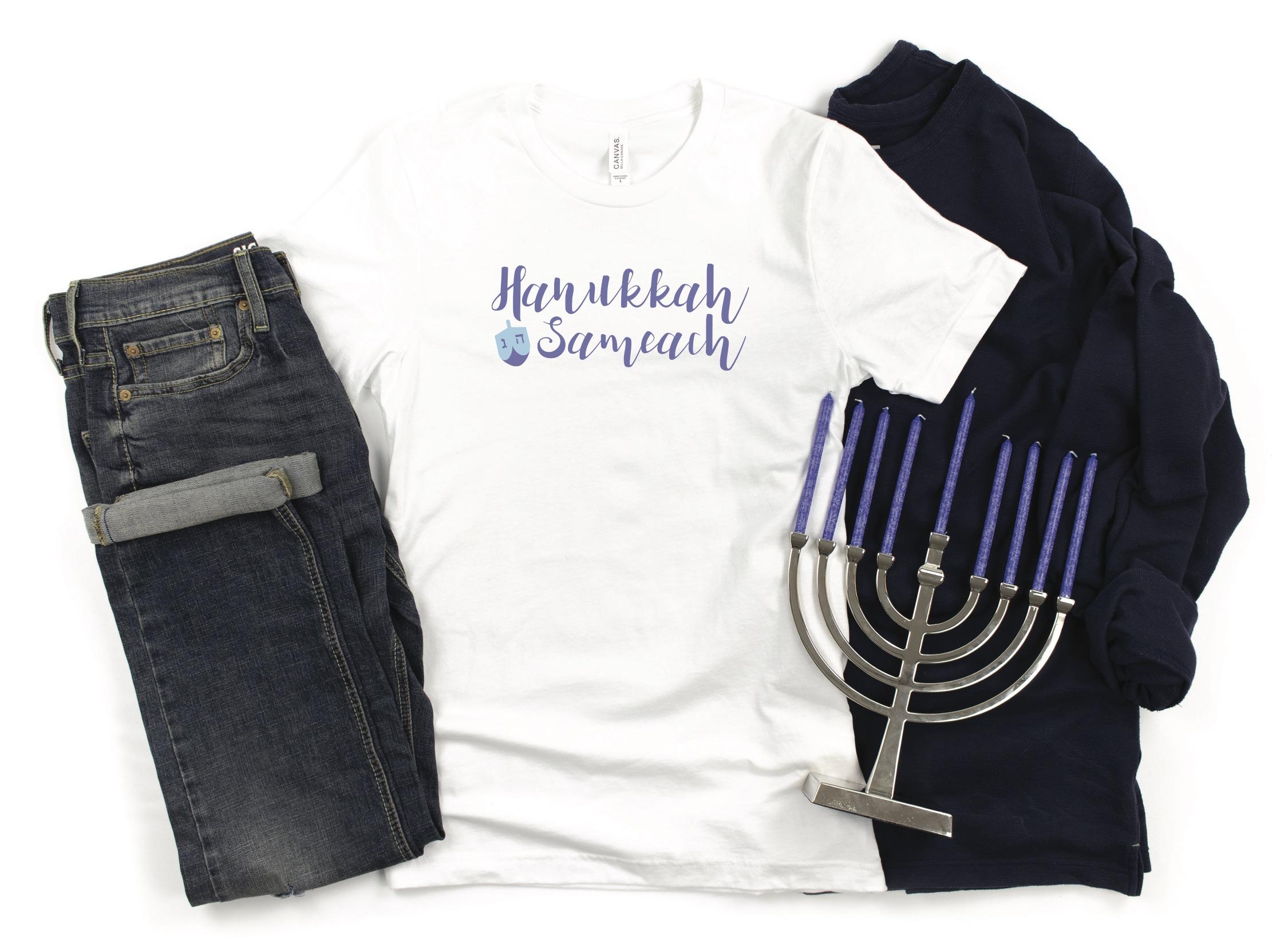 Custom Hanukkah Shirt Menorah Jeans