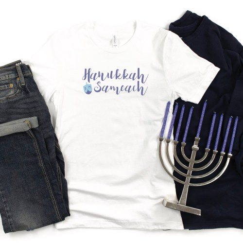 Custom Hanukkah Shirt Menorah Jeans