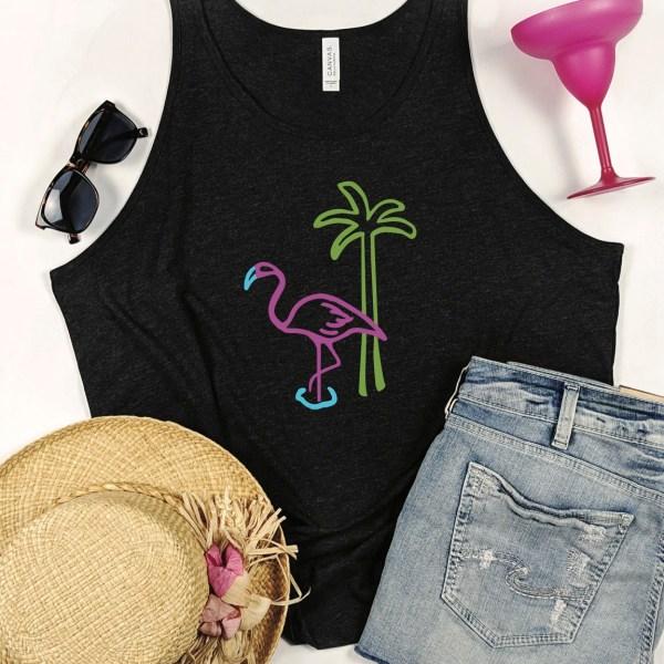 Flamingo tank top - hat - sunglasses