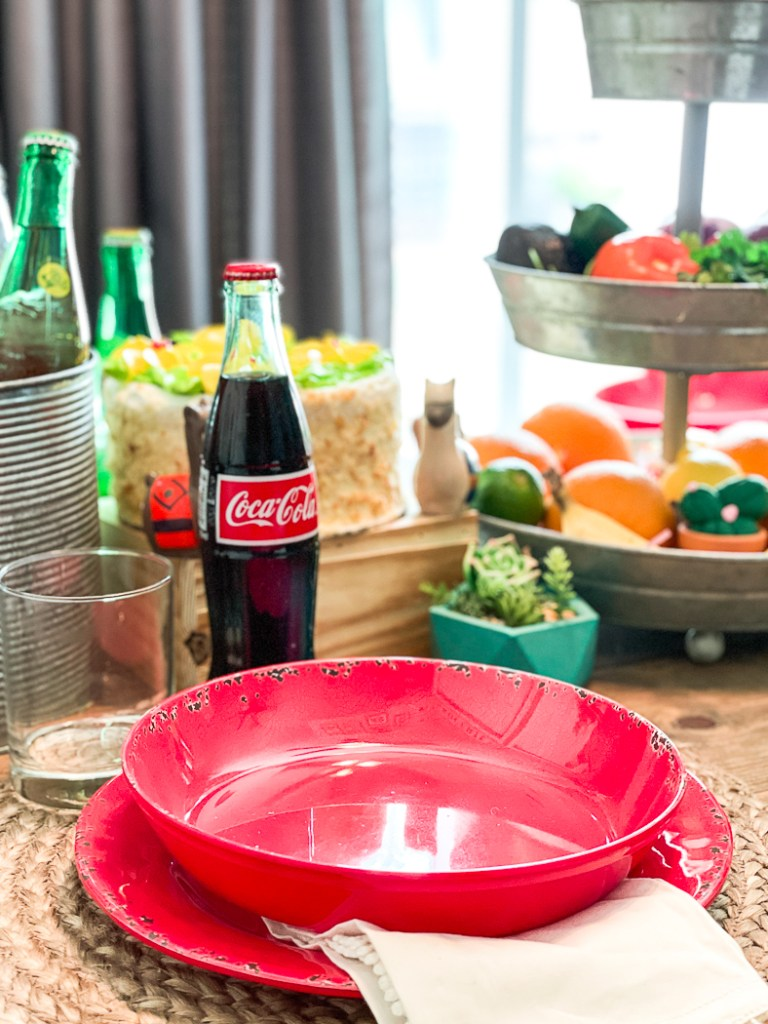 Red Plate Red Bowl Mexican Coke Cake Cactus