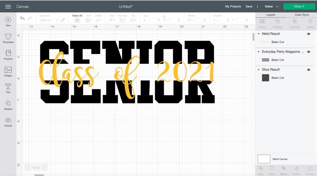 Split Senior Text Class of 2021 Design Space Screen Shot Image